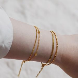 18K Gold Plated Double Chain Linked Bracelet